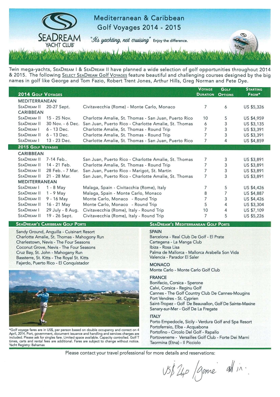 SeaDream - Golf Voyage